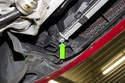 Remove radiator drain plug and drain coolant.