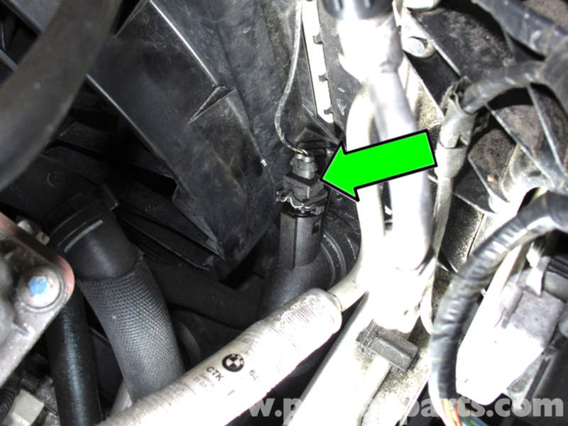 bmw e90 radiator outlet temperature sensor replacement e91 e92 radiator outlet temperature sensor is located on the right side of radiator installed in the