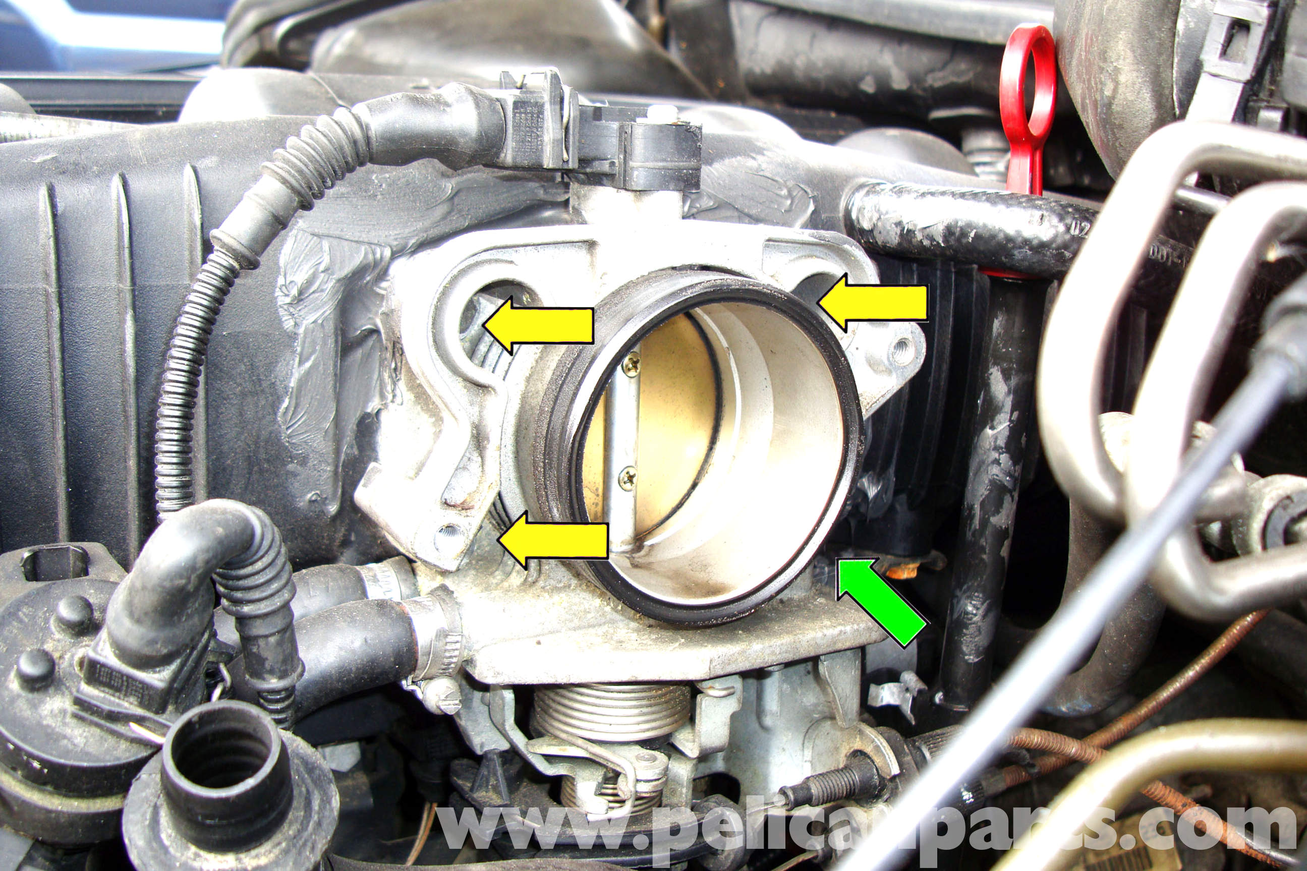 Bmw E39 5 Series Throttle Housing Removal 1997 2003 525i 528i Position Sensor Wire Diagram 4 Large Image Extra Squeeze The Retaining Clip On For