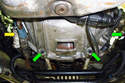 Upper Oil Pan-This photo illustrates looking at the back of the transmission bell-housing.