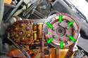 This photo illustrates the right side cylinder head looking at the timing gears.