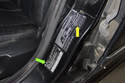 Using the sticker on your driver door jamb, you can also find your BMW model (green arrow) and tire pressure specifications as well as compatible tire size options.