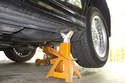 Once you reach desired height, install the jack stand at the jack pad location to support the vehicle.