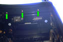 With the glove box removed there are three Phillips screws (green arrows) that need to be removed in the upper part of the glove box area.