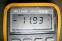 Your meter should read the opposite voltage reading you got from the first test.