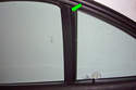 If you have the optional sun-screen use a plastic pry tool to lever off the cover for the rear door guide.