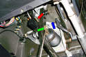 This photo illustrates the driver side of the dash looking at the brake pedal lever.