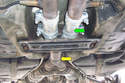 If you have original straight pipe measure from a reference point like this weld at the beginning of where the two pipes come together (yellow arrow) to the front end of your new exhaust muffler.