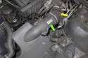 Early 6-cylinder models have a longer mass airflow sensor (green arrow) body and utilize a screw-in type electrical connector.
