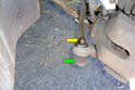 This photo illustrates the right side wheel well with the steering wheel turned all the way to the left.