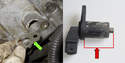 On 8-cylinder engines, the crankshaft sensor may be installed with a shim (green arrow), be sure this shim is reinstalled.