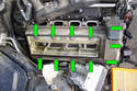 8-Cylinder Engine - Working at the right side valve cover remove the eleven 10mm fasteners (green arrows) that hold the valve cover onto the engine.