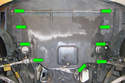 Engine Splash Shield Removal 8-Cylinder Engine-Locate the nine Phillips head twist fasteners (green arrows) and turn 90° counter-clockwise.