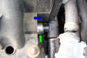 Crankcase Breather Valve 8-Cylinder Engine-If your tail pipe is smoking a lot you can remove the clip and push the pipe (green arrow) and move it forward in the direction of the blue arrow.