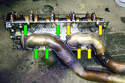 This photo illustrates the exhaust manifold side of the left side cylinder head.