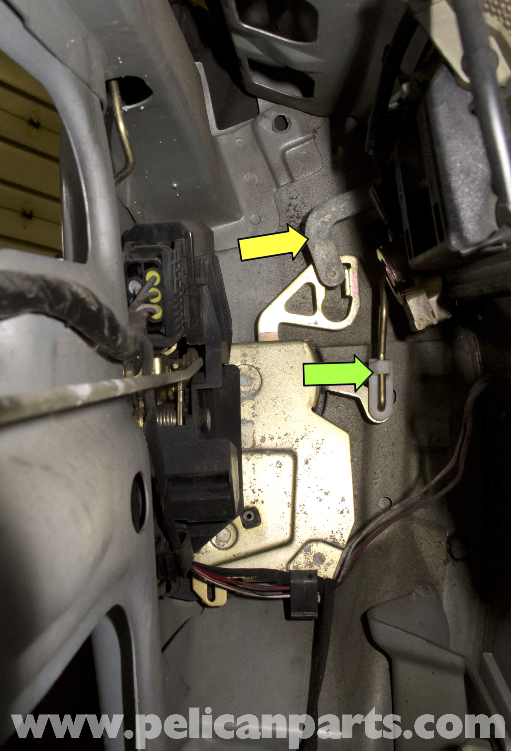 Bmw Z3 Door Latch Replacement 1996 2002 Pelican Parts Diy In Order To Remove The Assembly And Or Ajar Switch Handle Lever Yellow Arrow From Large Image Extra