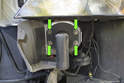 To replace bumper impact absorber, remove the four 10mm fasteners (green arrows), then remove the bumper absorber from the vehicle.
