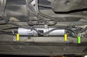 Early fuel filter assembly: This style has one fuel line (yellow arrows) connecting at each end and the running losses valve (green arrow) at the front.