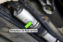 Depending on fuel filter manufacturer, there may also be an arrow facing in direction of fuel flow.