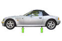 BMW Z3 models have 4 solid plastic jacking pads, slightly behind front wheels and slightly in front of rear wheels.