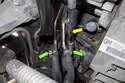 Loosening the fuel line hose clamps (green arrows) requires a special socket.