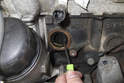 Using a small pick, carefully remove the O-ring and remaining plastic pieces from the crankcase.