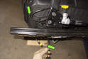 Remove wiring harnesses (green arrows) from seat by feeding it through the seat cushion fabric at rear.