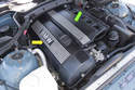 Models with 6-cylinder engine - 6-cylinder models have two engine covers.