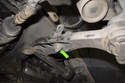 If needed, remove the 16mm sway bar bracket nut (green arrow).