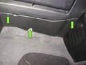 Working under dashboard, twist locking retainers (green arrows) 90 degrees.