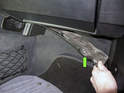 Then remove the trim panel (green arrows) by pulling it down and away from dashboard.