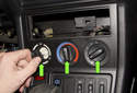 Working at IHKA panel, pull all three control knobs (green arrows) straight off to remove.