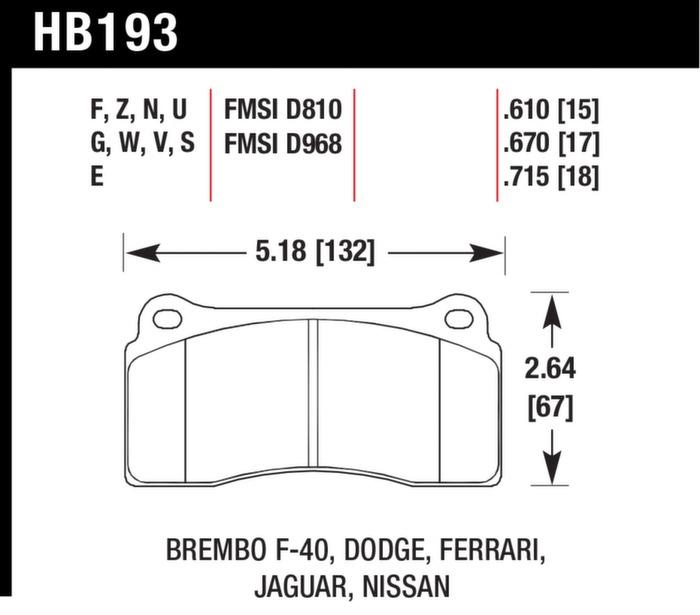 Hawk Performance HB609F.572 HPS Performance Ceramic Brake Pad