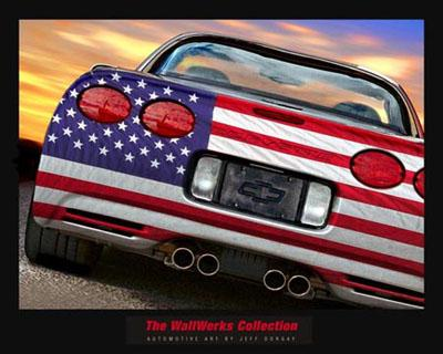 Auto Racing Posters on Auto Posters American Racing Posters Corvette Zo6 Stars And Stripes