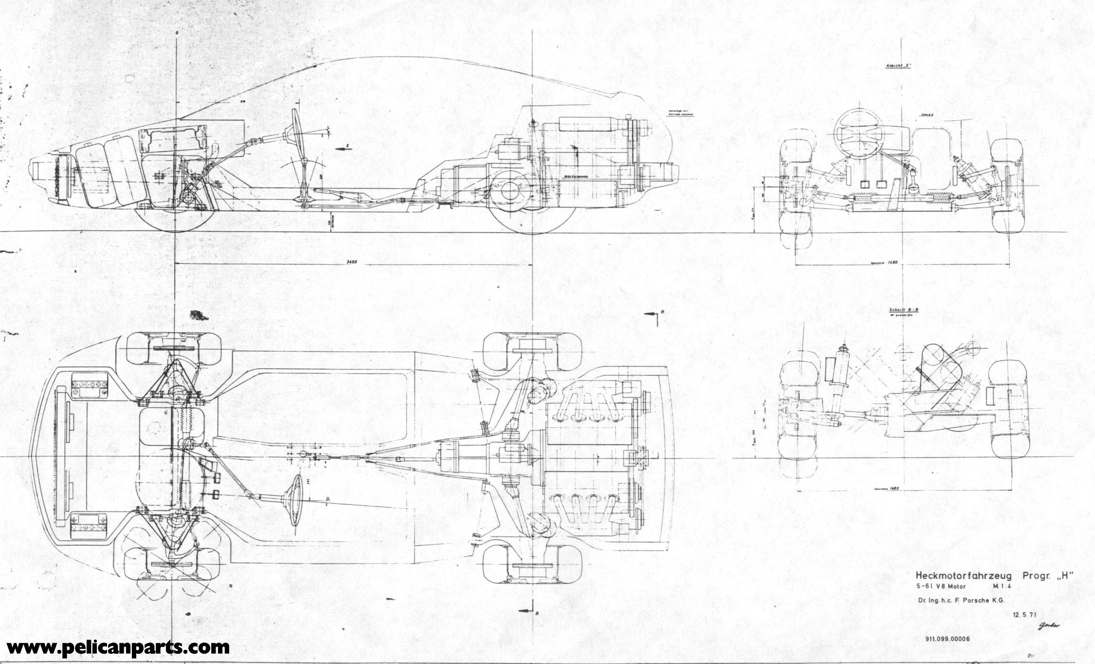Pelican Parts: Original German 911/928 Prototype Blueprint