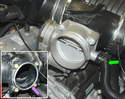 Shown here is the electronic throttle body installed on the flipped-over crossover tube.