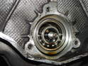This photo shows a completely destroyed intermediate shaft bearing (IMS).