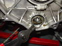 If you are installing the kit on an engine with a single-row bearing, then install the circlip with circlip pliers.