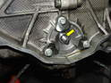 Here's the single-row cover installed with new Torx bolts and the shaft o-ring in place (yellow arrow).