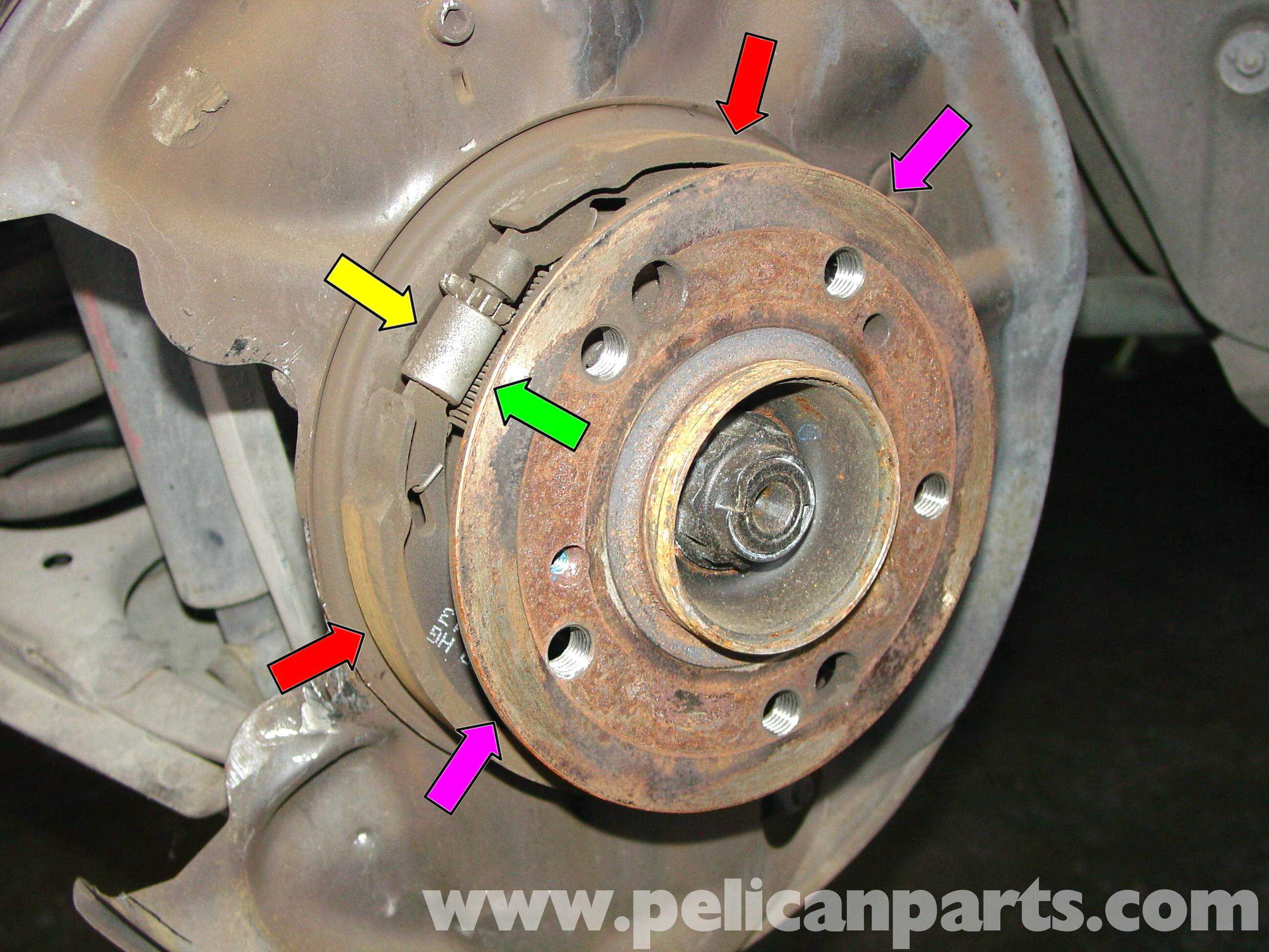 How to change front brake pads on 2006 mercedes c230 for Mercedes benz rotors replacement
