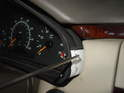 The instrument cluster on the Mercedes W210 chassis simply pushes into the dashboard.
