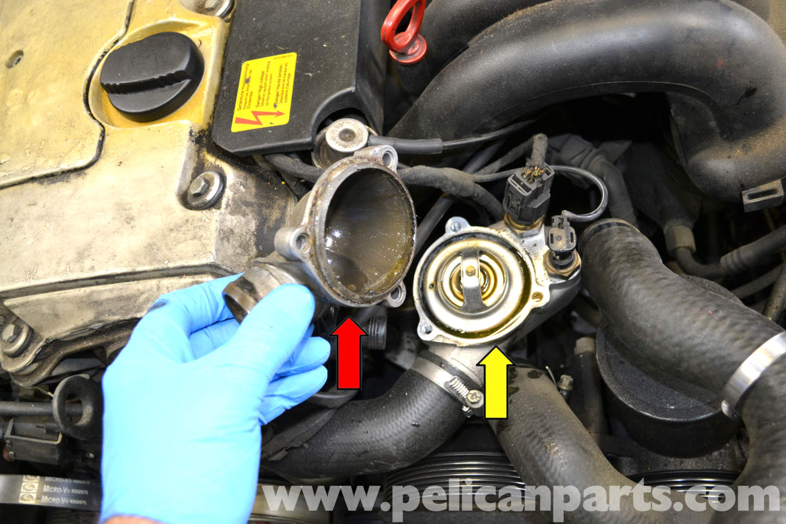 Service manual how to change thermostat on a 1989 for Mercedes benz thermostat