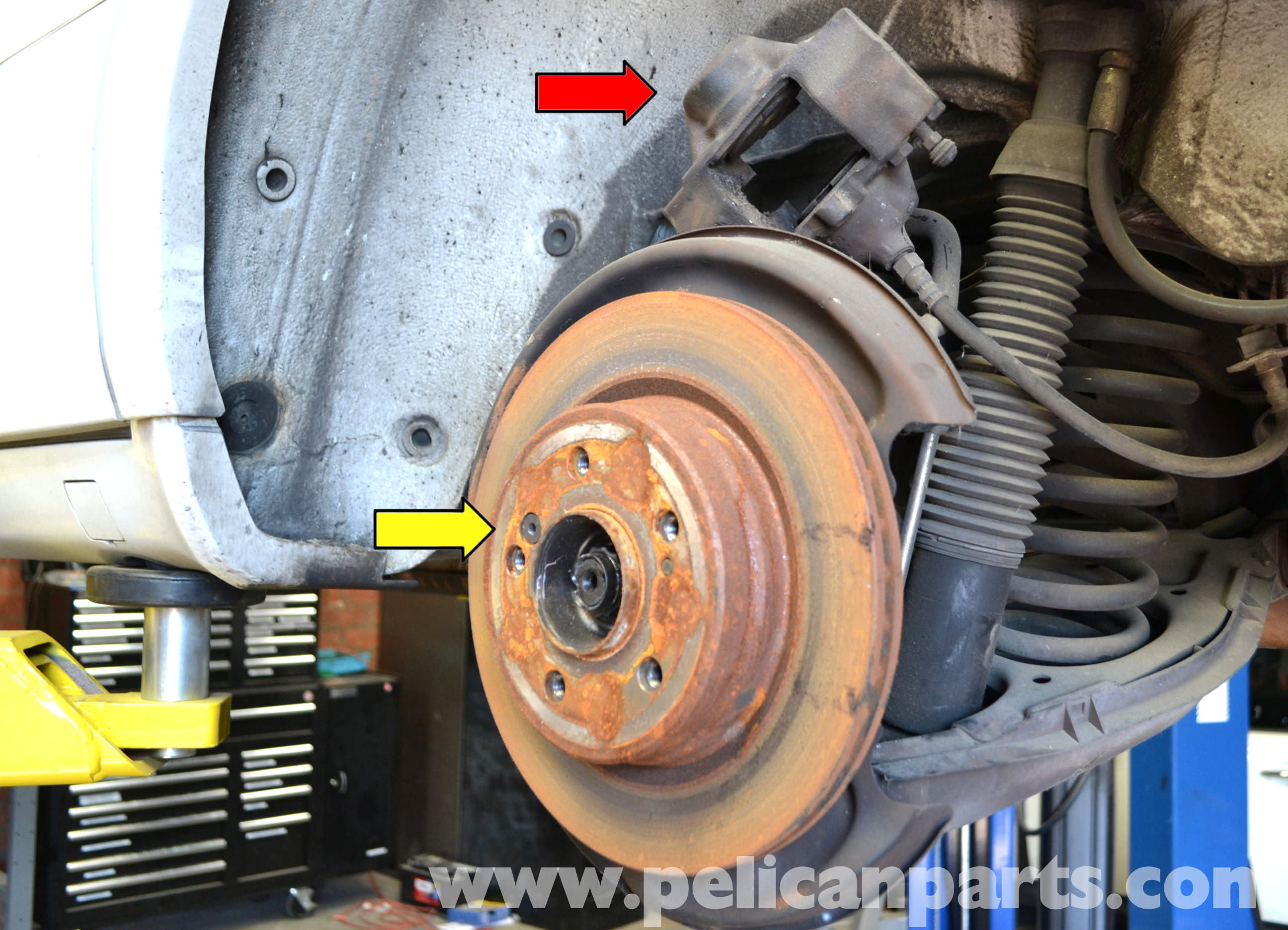 Pelican technical article mercedes benz w124 rear for Mercedes benz rotors replacement