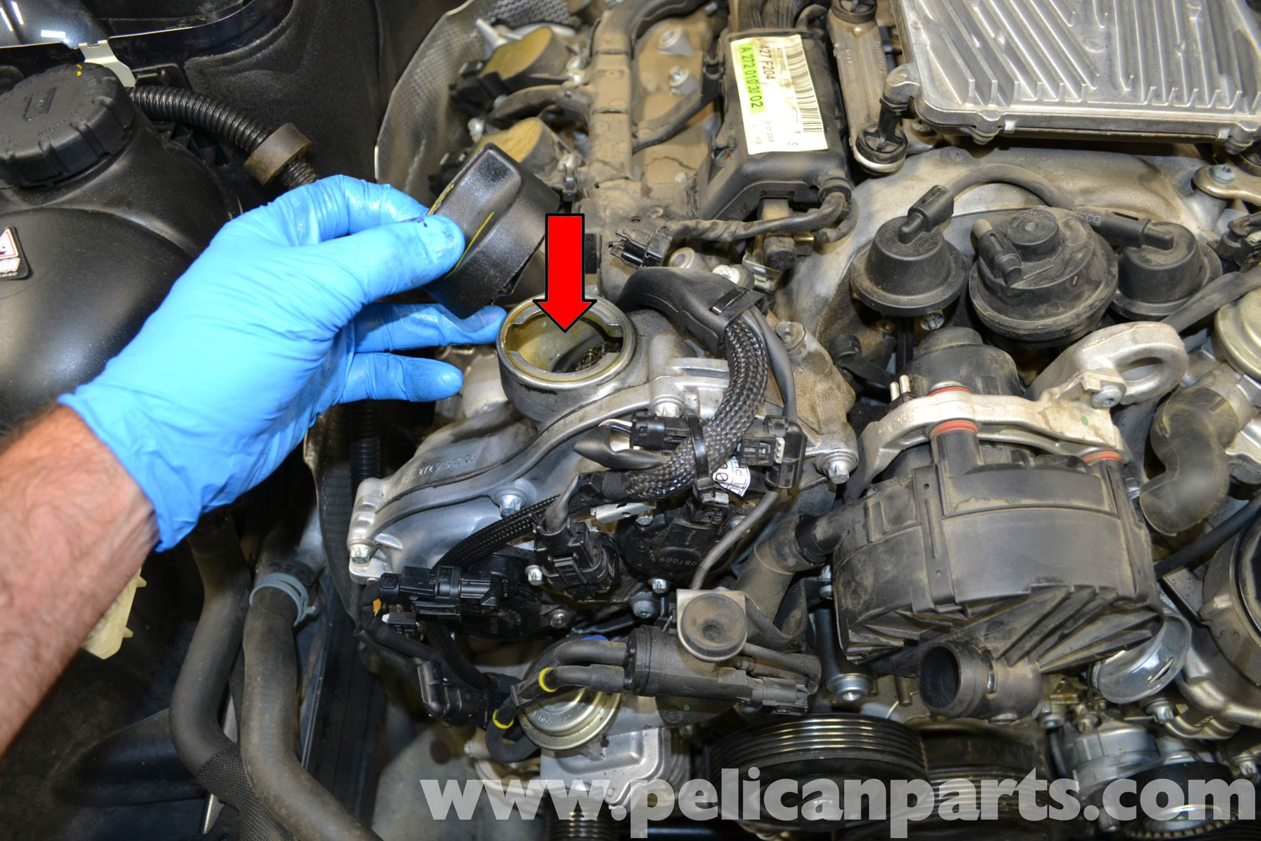 Mercedes benz w204 oil change 2008 2014 c250 c300 c350 pelican parts diy maintenance article