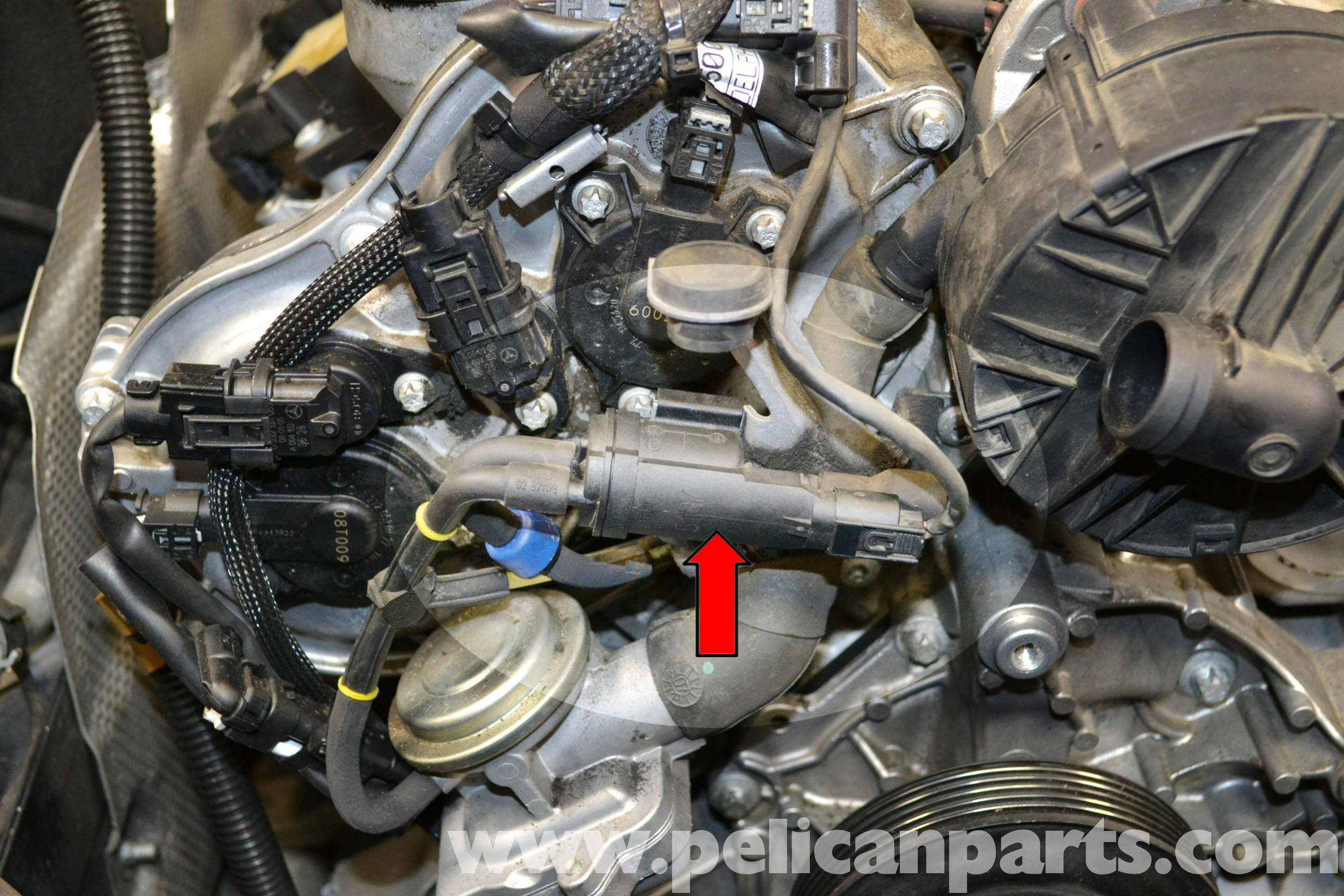 Mercedes benz w204 air injection change over valve replacement 2008 2014 c250 c300 c350