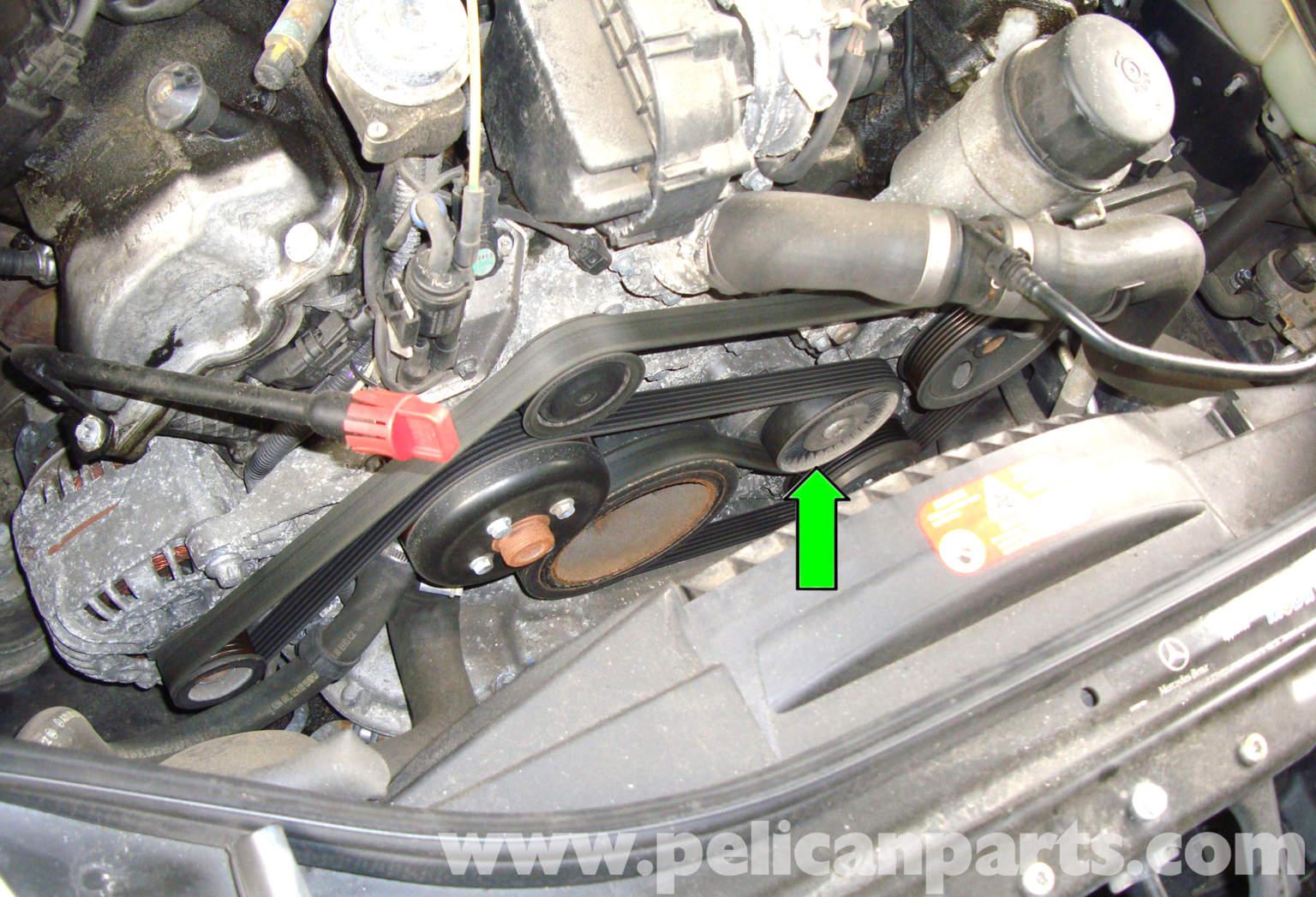 Mercedes benz w211 accessory drive belt replacement 2003 for Replacement parts for mercedes benz