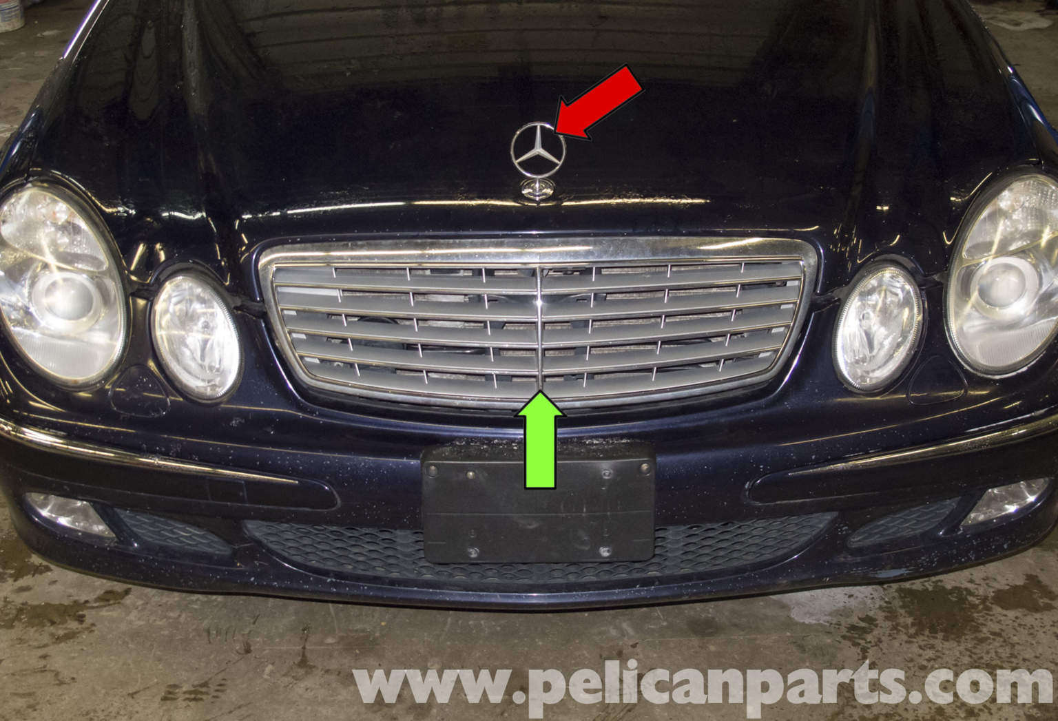 Pelican technical article mercedes benz w211 radiator for Mercedes benz hood replacement