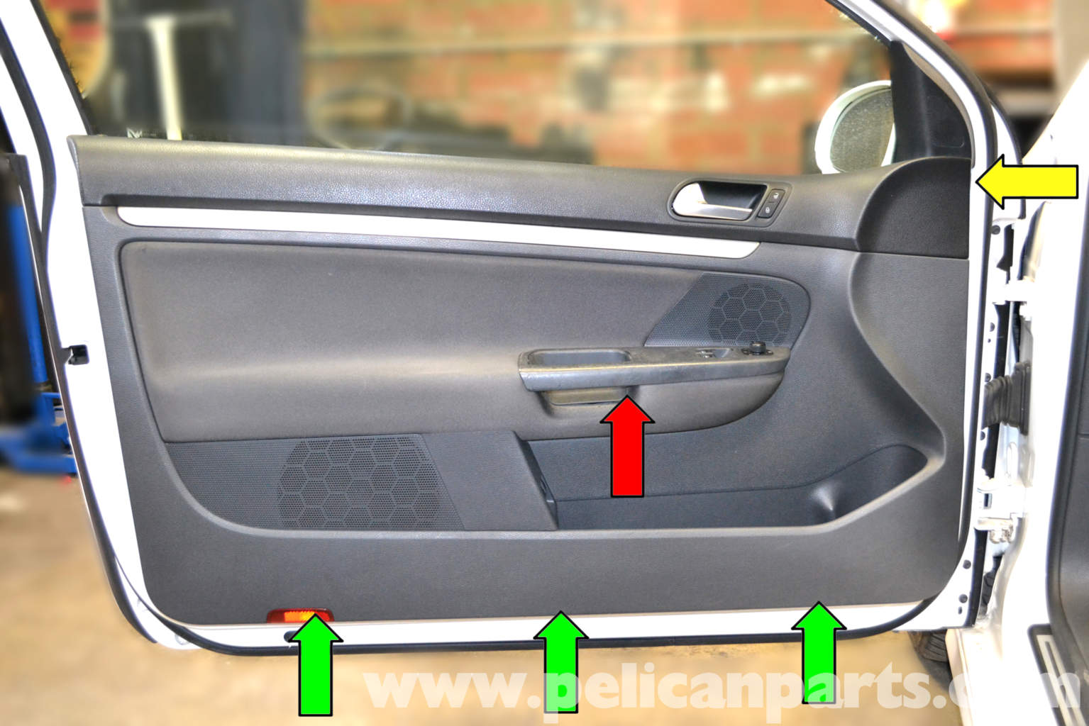 volkswagen golf gti mk v front door panel removal 2006 2009 pelican parts diy maintenance. Black Bedroom Furniture Sets. Home Design Ideas