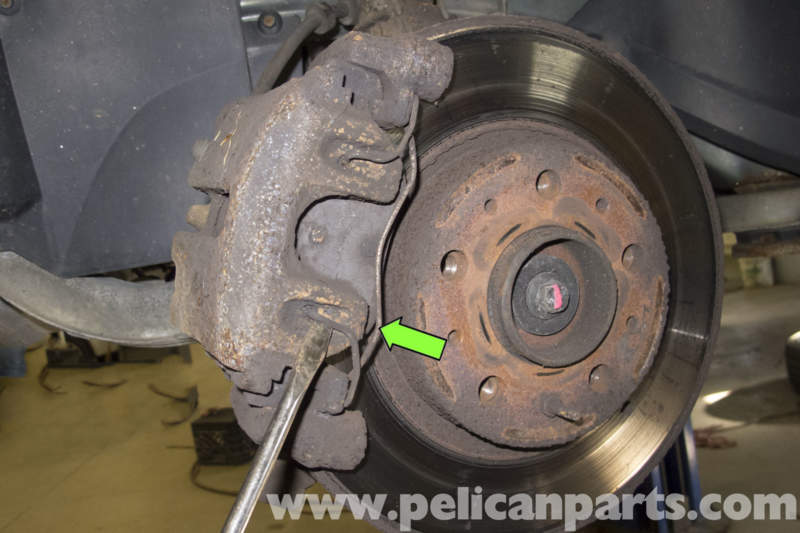 Brake Pad Clips >> Volvo V70 Front Brake Caliper and Hose Replacement (1998 ...